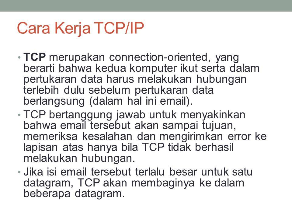 Cara kerja TCP/IP IP bertanggung jawab setelah hubungan berlangsung.