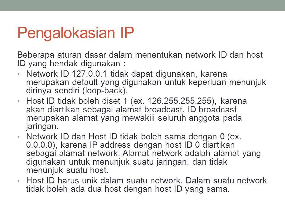 Pengalokasian IP Aturan lain : 0/8: 0.0.0.1 s/d 0.255.255.254 Host/net : 16.777.214 10/8: 10.0.0.1 s/d 10.255.255.254 Host/net : 16.777.214 127/8: 127.0.0.1 s/d 127.255.255.254 Host/net : 16.777.214 169.254/16: 169.254.0.1 s/d 169.255.255.254 Host/net : 65.534 172.16/12: 172.16.0.1 s/d 172.31.255.254 Host/net : 1.048.574 (Private Internet) 192.0.2/24: 192.0.2.1 s/d 192.0.2.254 Host/net : 254 192.168/16: 192.168.0.1 s/d 192.168.255.254 Host/net :65534 Semua space dari klas D dan E dapat digunakan untuk IP Address Local Area Network, karena IP ini tidak digunakan di internet.