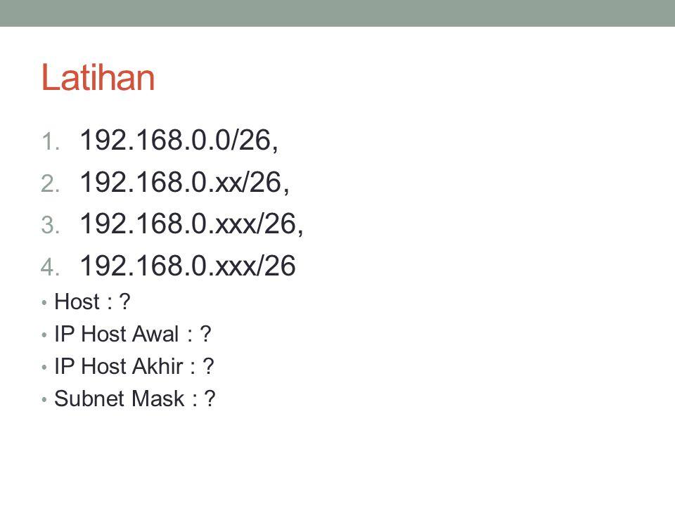 Latihan 1.192.168.0.0/27, 2. 192.168.0.xx/27, 3. 192.168.0.xxx/27, 4.