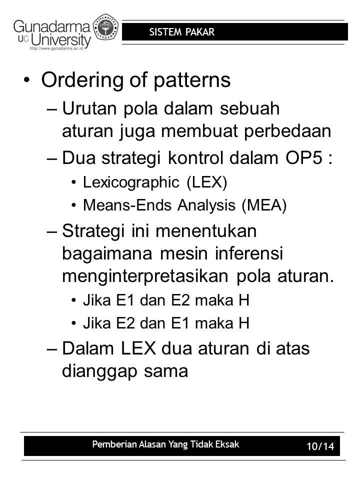 SISTEM PAKAR Pemberian Alasan Yang Tidak Eksak 10/14 Ordering of patterns –Urutan pola dalam sebuah aturan juga membuat perbedaan –Dua strategi kontro