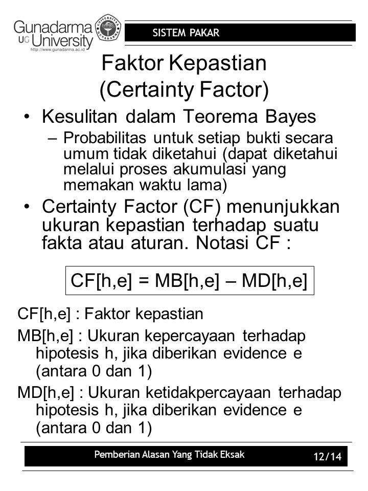SISTEM PAKAR Pemberian Alasan Yang Tidak Eksak 12/14 Faktor Kepastian (Certainty Factor) Kesulitan dalam Teorema Bayes –Probabilitas untuk setiap bukt
