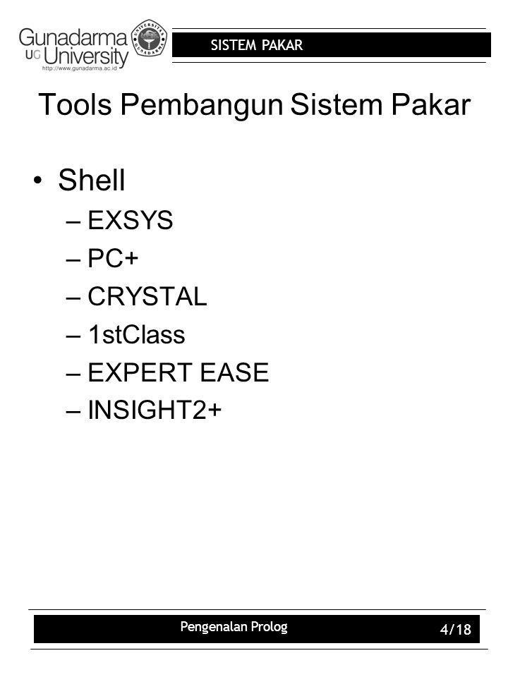SISTEM PAKAR Pengenalan Prolog 4/18 Tools Pembangun Sistem Pakar Shell –EXSYS –PC+ –CRYSTAL –1stClass –EXPERT EASE –INSIGHT2+