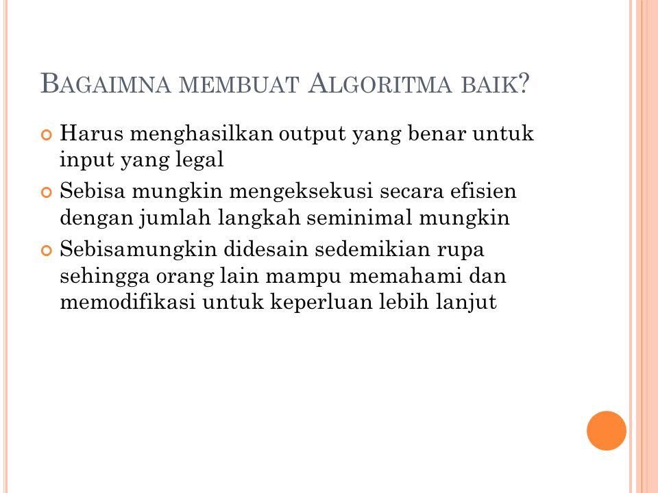 B AGAIMNA MEMBUAT A LGORITMA BAIK ? Harus menghasilkan output yang benar untuk input yang legal Sebisa mungkin mengeksekusi secara efisien dengan juml