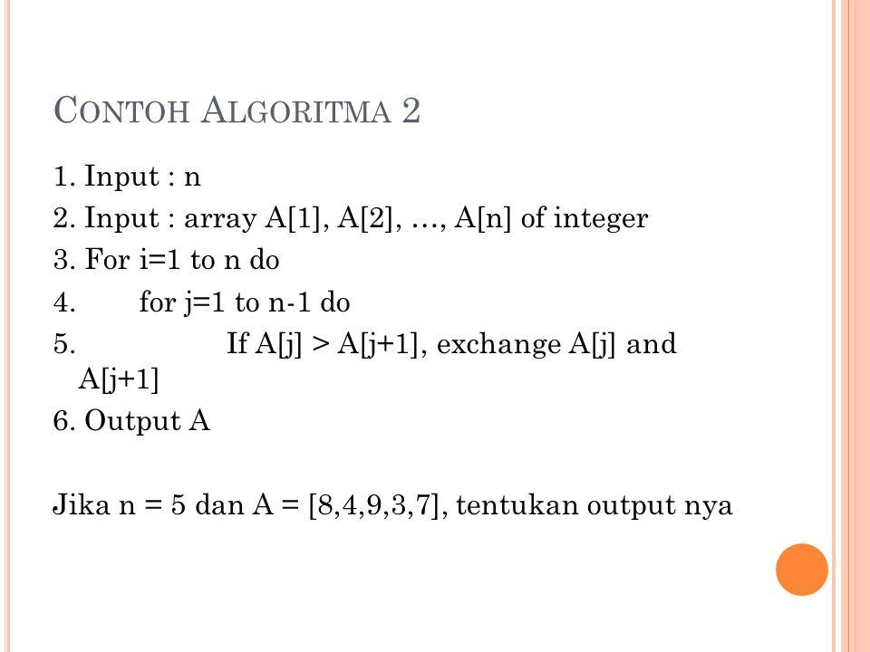 C ONTOH A LGORITMA 2 1. Input : n 2. Input : array A[1], A[2], …, A[n] of integer 3. For i=1 to n do 4. for j=1 to n-1 do 5.If A[j] > A[j+1], exchange