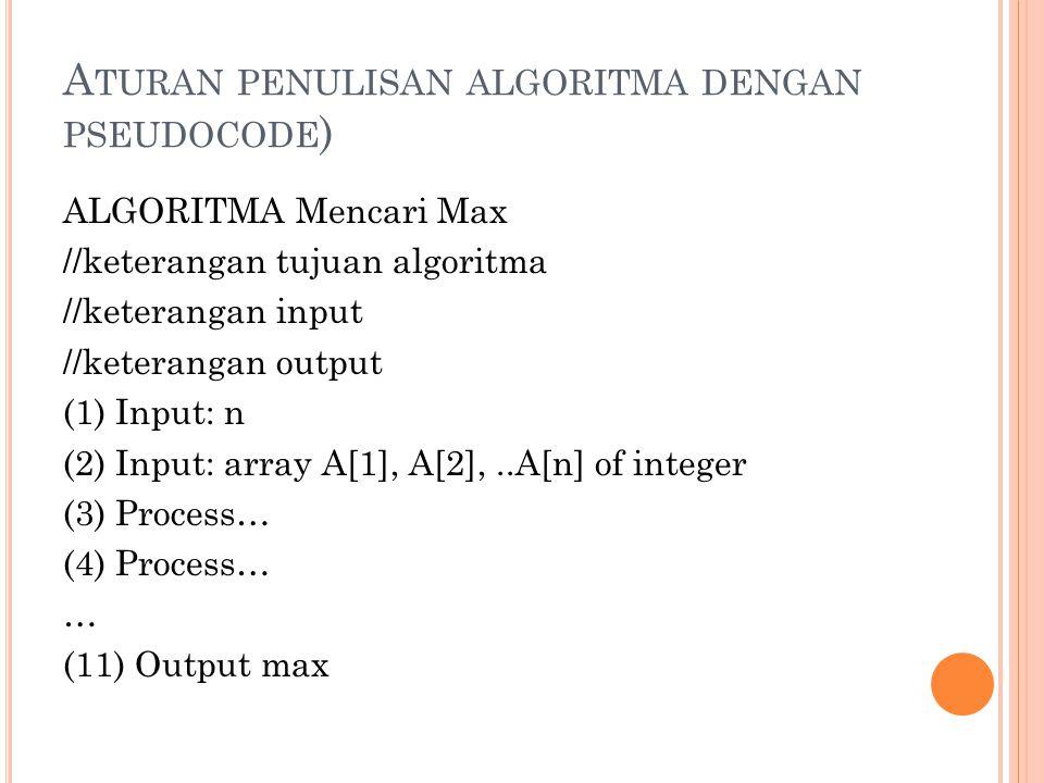 A TURAN PENULISAN ALGORITMA DENGAN PSEUDOCODE ) ALGORITMA Mencari Max //keterangan tujuan algoritma //keterangan input //keterangan output (1) Input: n (2) Input: array A[1], A[2],..A[n] of integer (3) Process… (4) Process… … (11) Output max