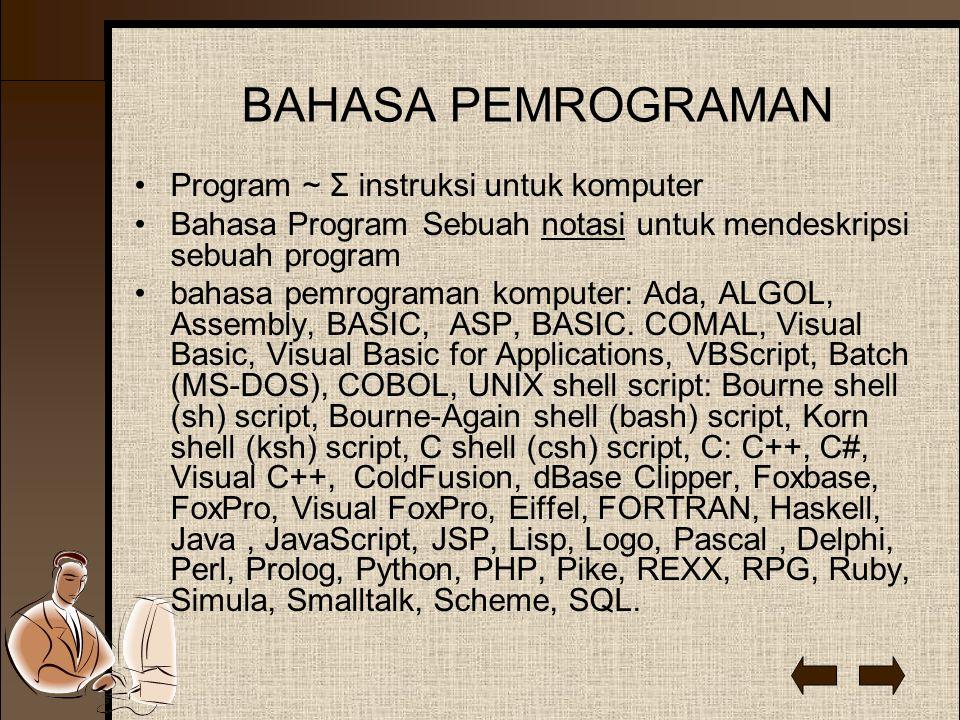 BAHASA PEMROGRAMAN Program ~ Σ instruksi untuk komputer Bahasa Program Sebuah notasi untuk mendeskripsi sebuah program bahasa pemrograman komputer: Ada, ALGOL, Assembly, BASIC, ASP, BASIC.