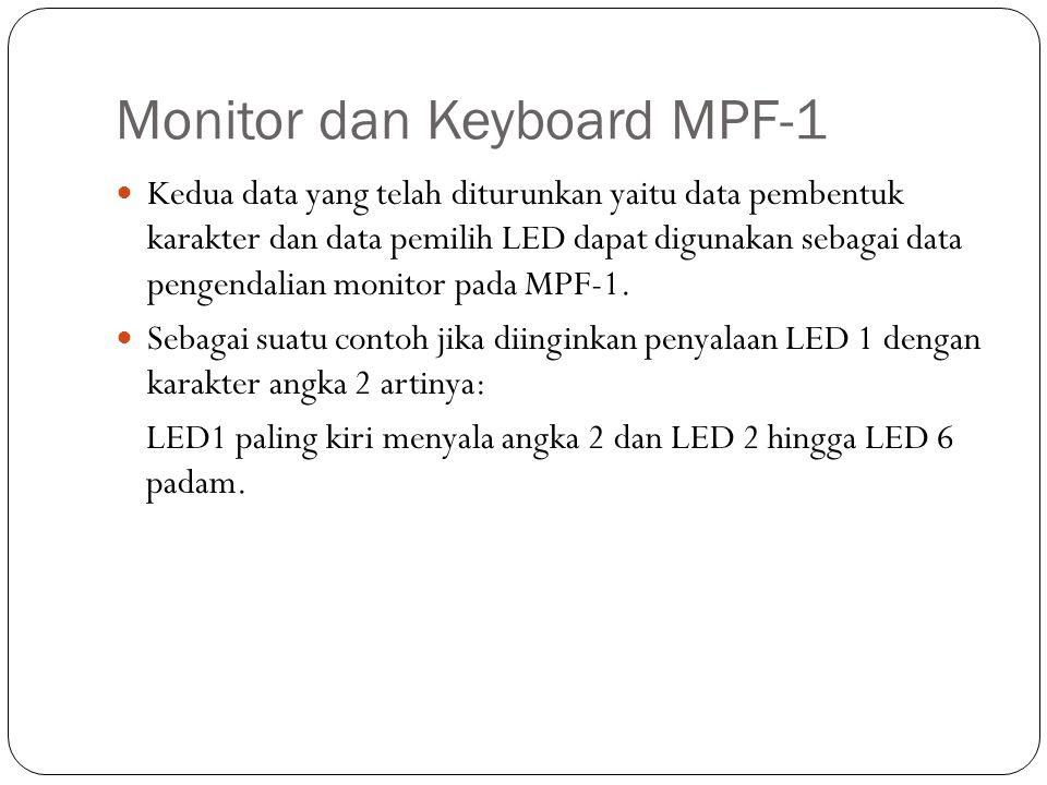 Monitor dan Keyboard MPF-1 Kedua data yang telah diturunkan yaitu data pembentuk karakter dan data pemilih LED dapat digunakan sebagai data pengendali