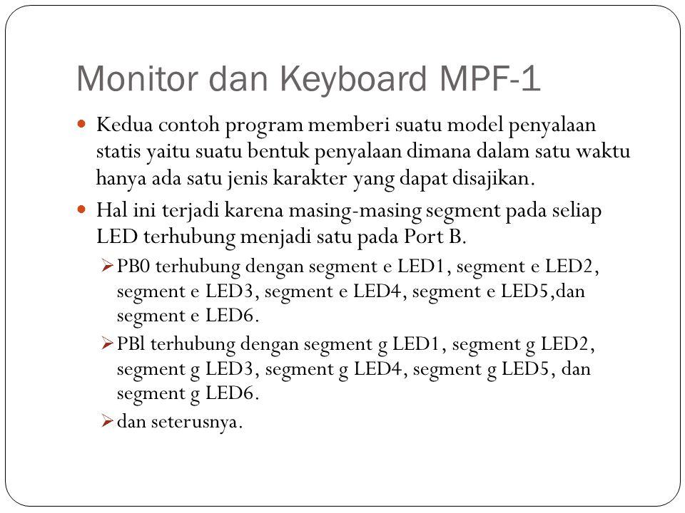 Monitor dan Keyboard MPF-1 Kedua contoh program memberi suatu model penyalaan statis yaitu suatu bentuk penyalaan dimana dalam satu waktu hanya ada sa