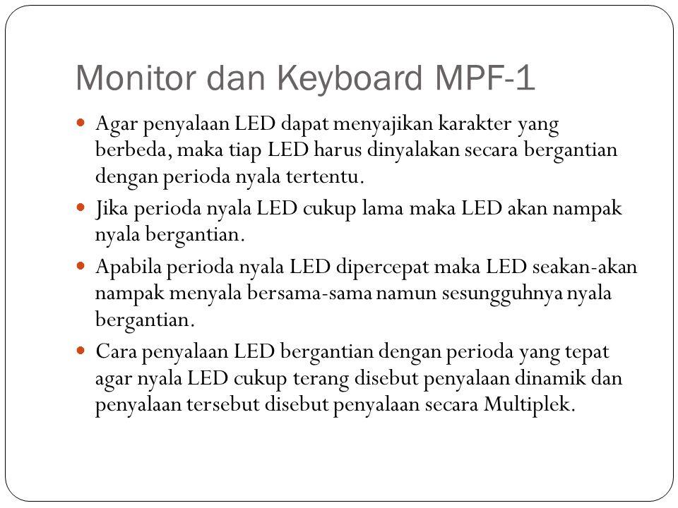 Monitor dan Keyboard MPF-1 Agar penyalaan LED dapat menyajikan karakter yang berbeda, maka tiap LED harus dinyalakan secara bergantian dengan perioda