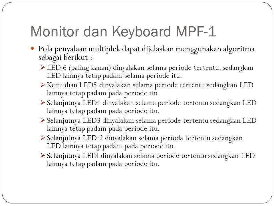 Monitor dan Keyboard MPF-1 Pola penyalaan multiplek dapat dijelaskan menggunakan algoritma sebagai berikut :  LED 6 (paling kanan) dinyalakan selama