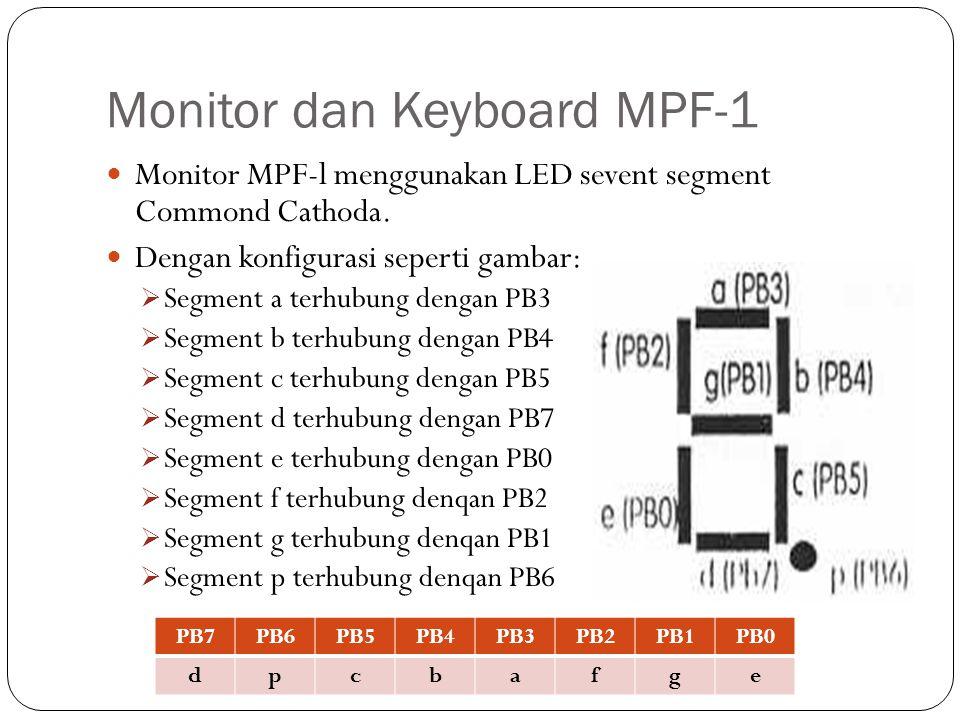 Monitor dan Keyboard MPF-1 Monitor MPF-l menggunakan LED sevent segment Commond Cathoda. Dengan konfigurasi seperti gambar:  Segment a terhubung deng