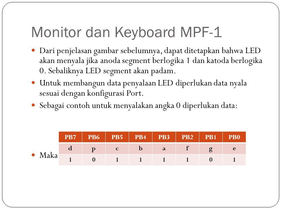 Monitor dan Keyboard MPF-1 Untuk memudahkan penjabaran data penyalaan segment untuk tiap karakter dapat diformulasikan menggunakan tabel berikut: PB7PB6PB5PB4PB3PB2PB1PB0 DATA (h) NYALA dpcbafge 0000000000Padam 10111101BD0 00110000301 100110119B2 10111010BA3 00110110364 10101110AE5 10101111AF6