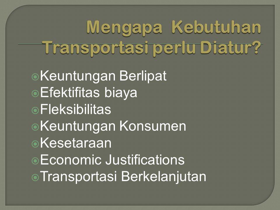  Keuntungan Berlipat  Efektifitas biaya  Fleksibilitas  Keuntungan Konsumen  Kesetaraan  Economic Justifications  Transportasi Berkelanjutan