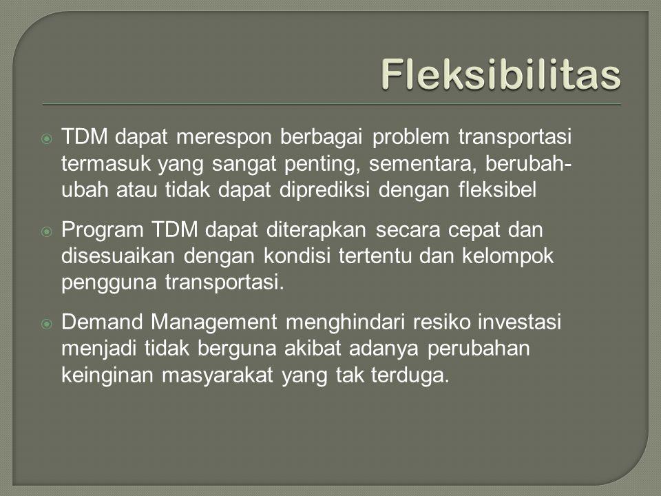  TDM dapat merespon berbagai problem transportasi termasuk yang sangat penting, sementara, berubah- ubah atau tidak dapat diprediksi dengan fleksibel
