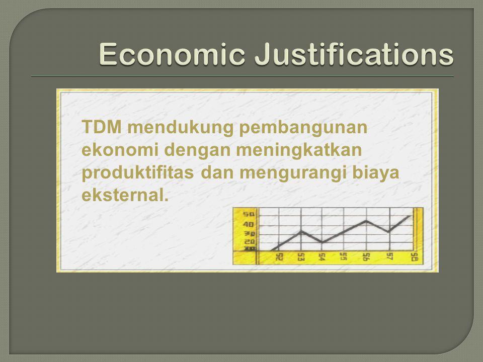 TDM mendukung pembangunan ekonomi dengan meningkatkan produktifitas dan mengurangi biaya eksternal.