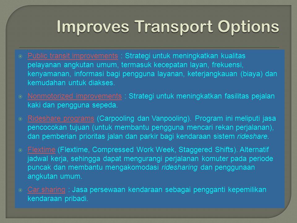  Public transit improvements : Strategi untuk meningkatkan kualitas pelayanan angkutan umum, termasuk kecepatan layan, frekuensi, kenyamanan, informa