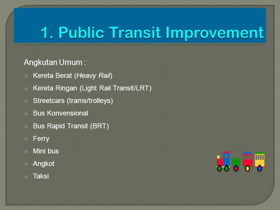 Angkutan Umum :  Kereta Berat (Heavy Rail)  Kereta Ringan (Light Rail Transit/LRT)  Streetcars (trams/trolleys)  Bus Konvensional  Bus Rapid Tran
