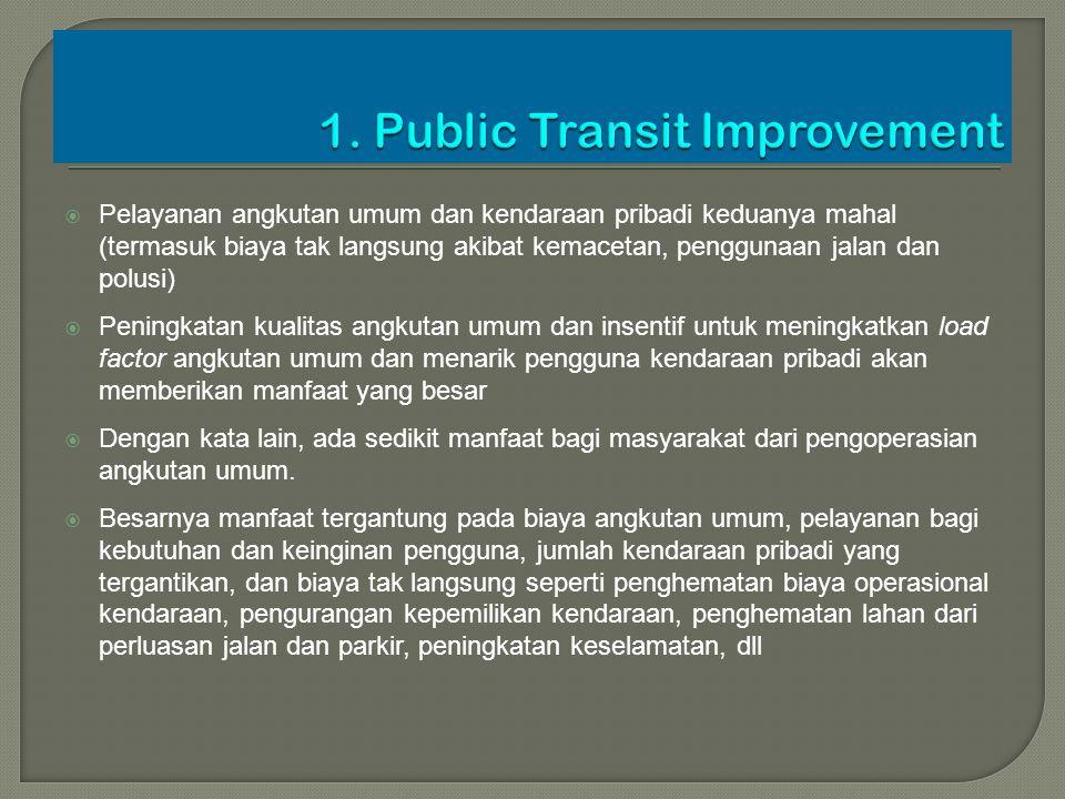  Pelayanan angkutan umum dan kendaraan pribadi keduanya mahal (termasuk biaya tak langsung akibat kemacetan, penggunaan jalan dan polusi)  Peningkat