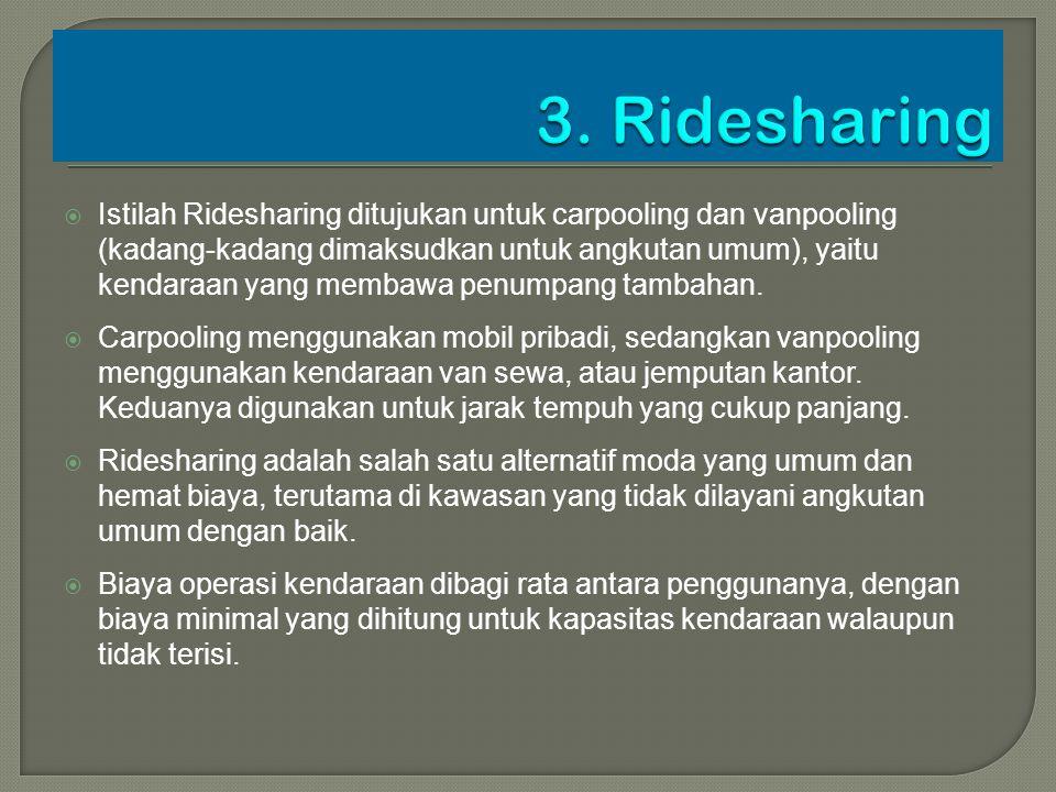  Istilah Ridesharing ditujukan untuk carpooling dan vanpooling (kadang-kadang dimaksudkan untuk angkutan umum), yaitu kendaraan yang membawa penumpan