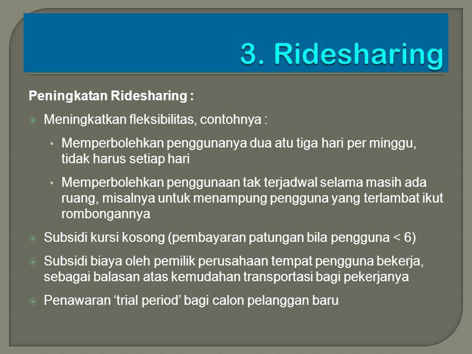 Peningkatan Ridesharing :  Meningkatkan fleksibilitas, contohnya : Memperbolehkan penggunanya dua atu tiga hari per minggu, tidak harus setiap hari M