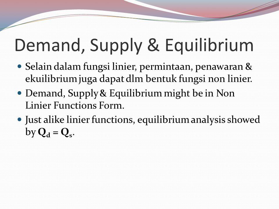 Demand, Supply & Equilibrium Selain dalam fungsi linier, permintaan, penawaran & ekuilibrium juga dapat dlm bentuk fungsi non linier. Demand, Supply &