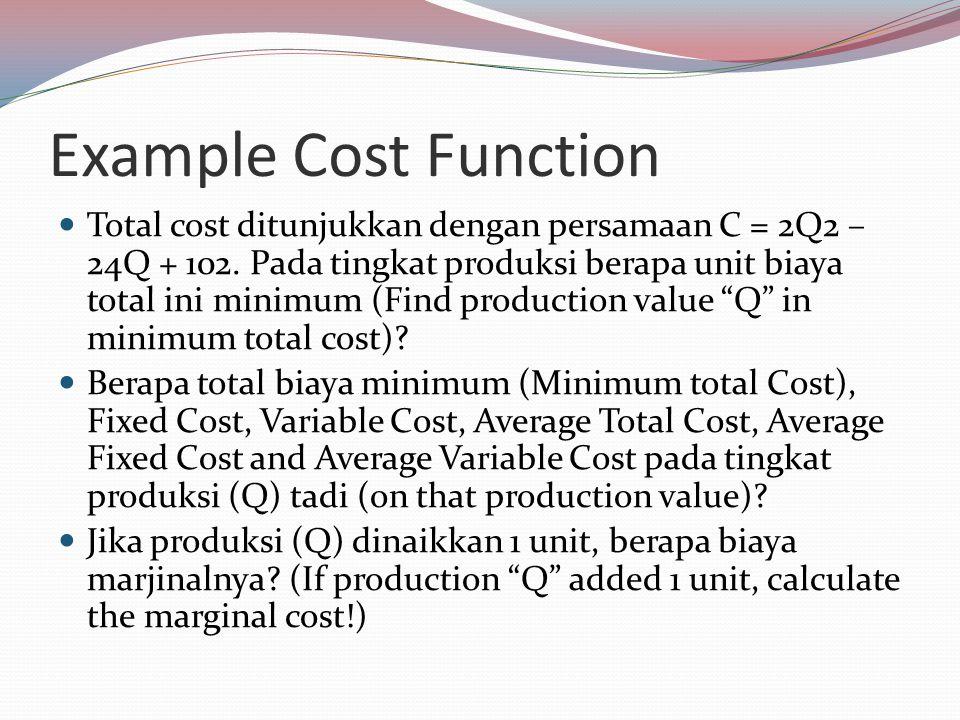 Example Cost Function Total cost ditunjukkan dengan persamaan C = 2Q2 – 24Q + 102.