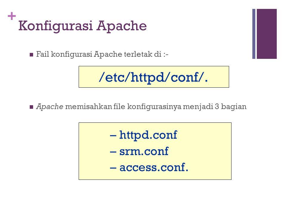 + Konfigurasi Apache Fail konfigurasi Apache terletak di :- Apache memisahkan file konfigurasinya menjadi 3 bagian – httpd.conf – srm.conf – access.conf.