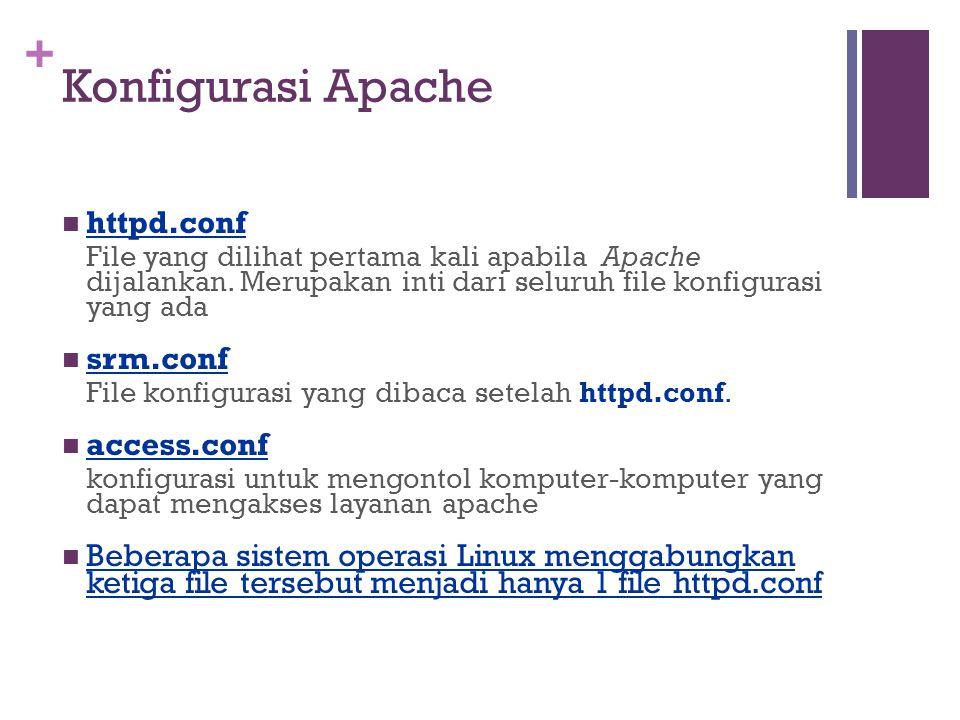 + Konfigurasi Apache httpd.conf File yang dilihat pertama kali apabila Apache dijalankan.