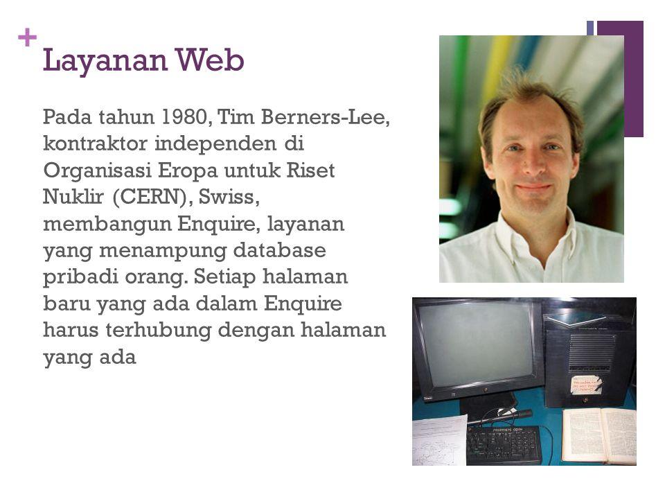 + Layanan Web Pada tahun 1980, Tim Berners-Lee, kontraktor independen di Organisasi Eropa untuk Riset Nuklir (CERN), Swiss, membangun Enquire, layanan yang menampung database pribadi orang.