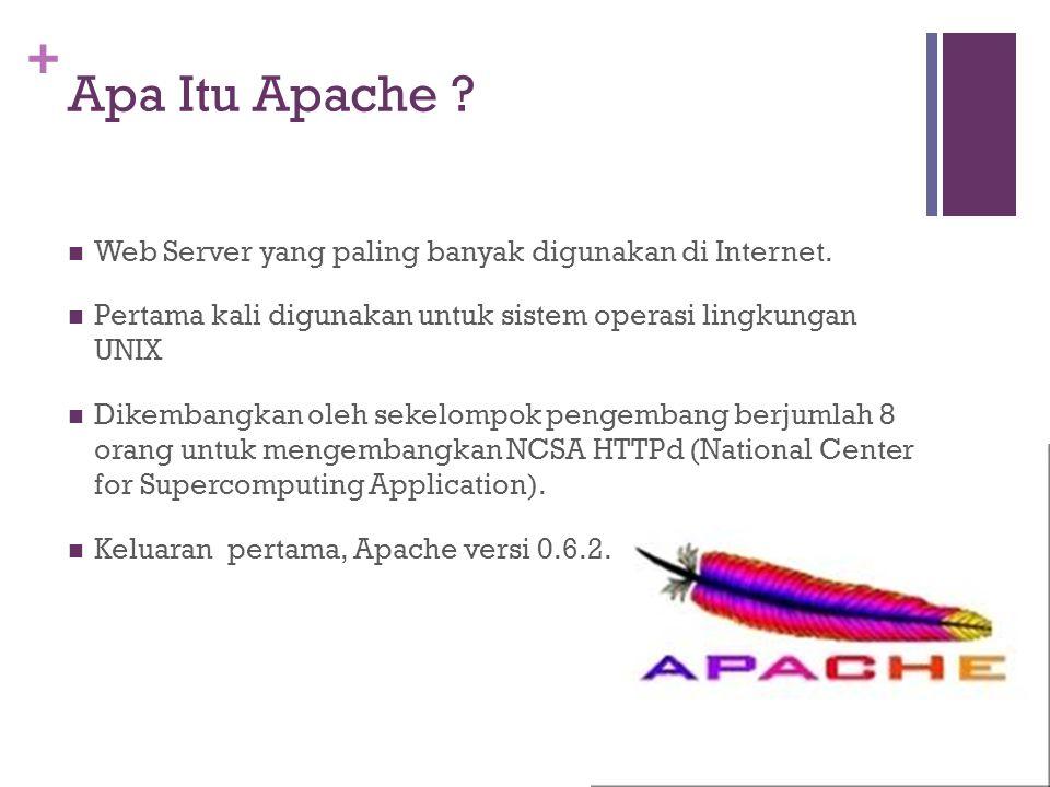 + Apa Itu Apache .Delapan orang pengembang Web Server Apache tsb adalah: Brian Behlendorf Roy T.