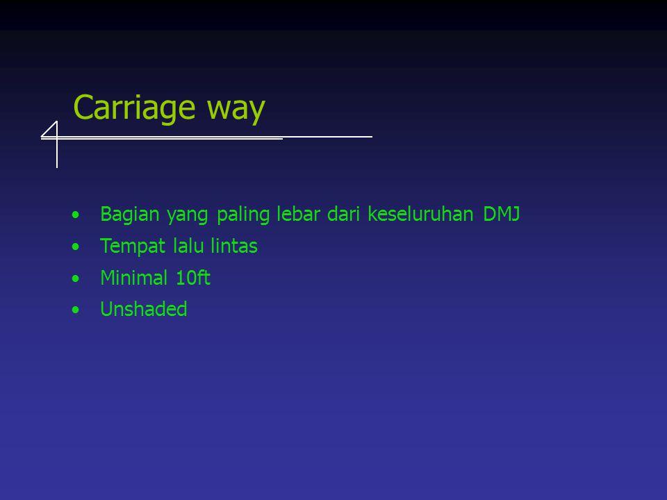 Carriage way Bagian yang paling lebar dari keseluruhan DMJ Tempat lalu lintas Minimal 10ft Unshaded