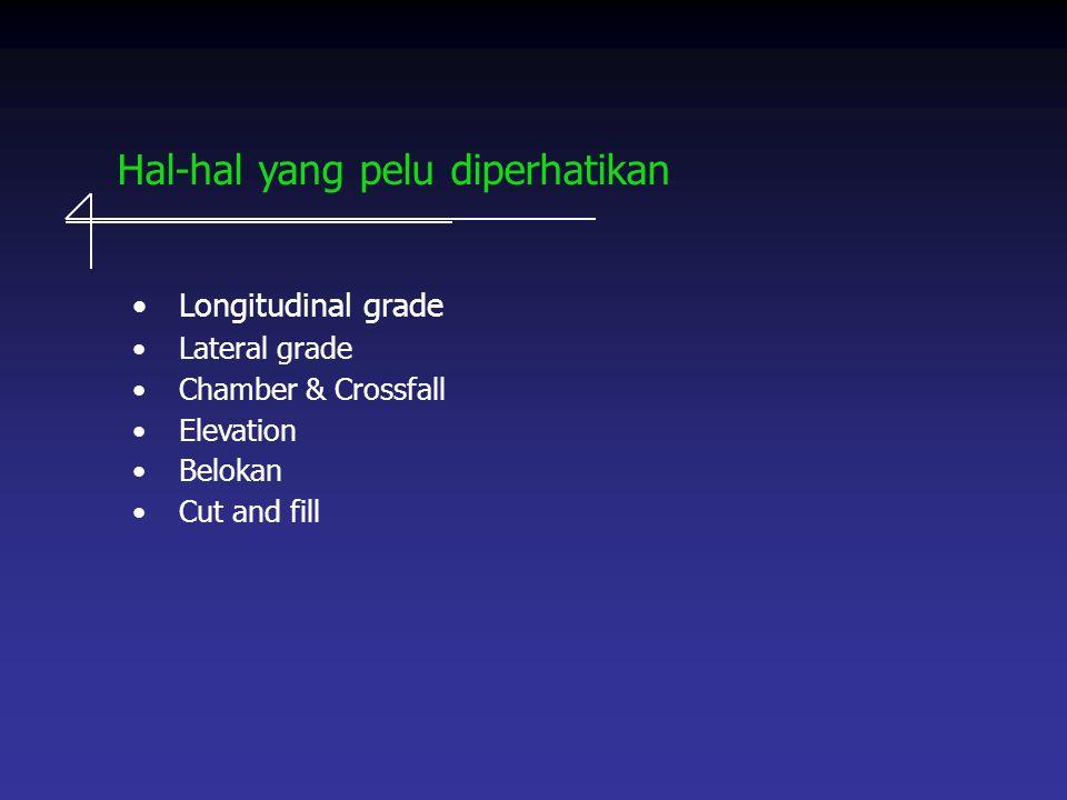 Hal-hal yang pelu diperhatikan Longitudinal grade Lateral grade Chamber & Crossfall Elevation Belokan Cut and fill