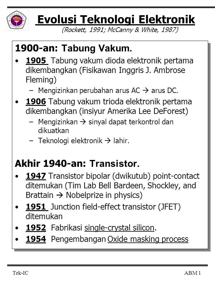 ABM 1Tek-IC Evolusi Teknologi Elektronik (Rockett, 1991; McCanny & White, 1987) 1900-an: Tabung Vakum. 1905 Tabung vakum dioda elektronik pertama dike