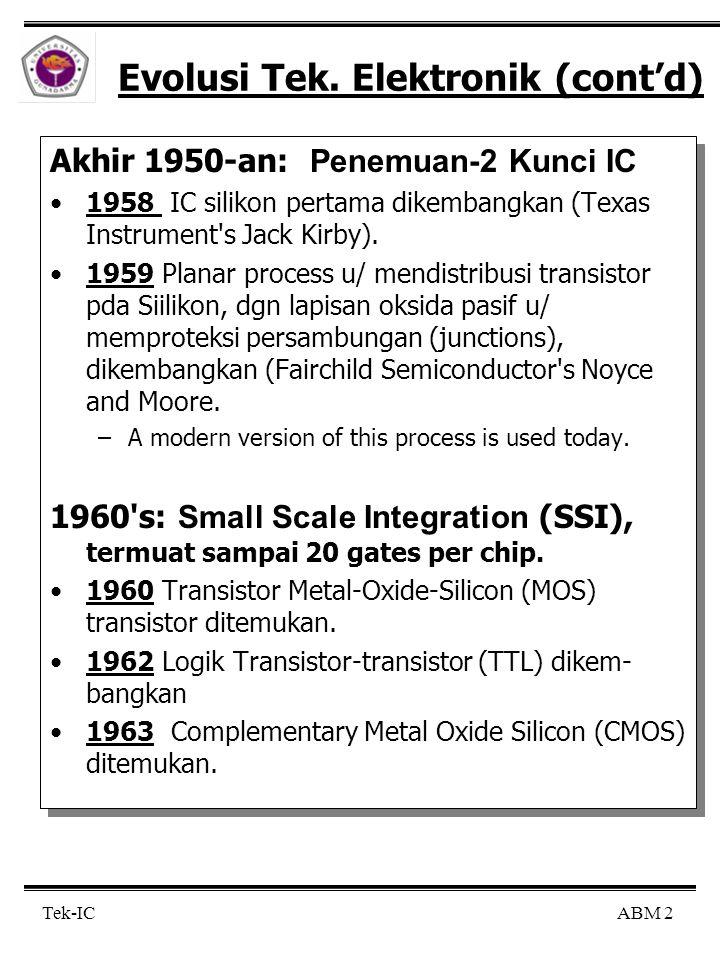 ABM 2Tek-IC Evolusi Tek. Elektronik (cont'd) Akhir 1950-an: Penemuan-2 Kunci IC 1958 IC silikon pertama dikembangkan (Texas Instrument's Jack Kirby).