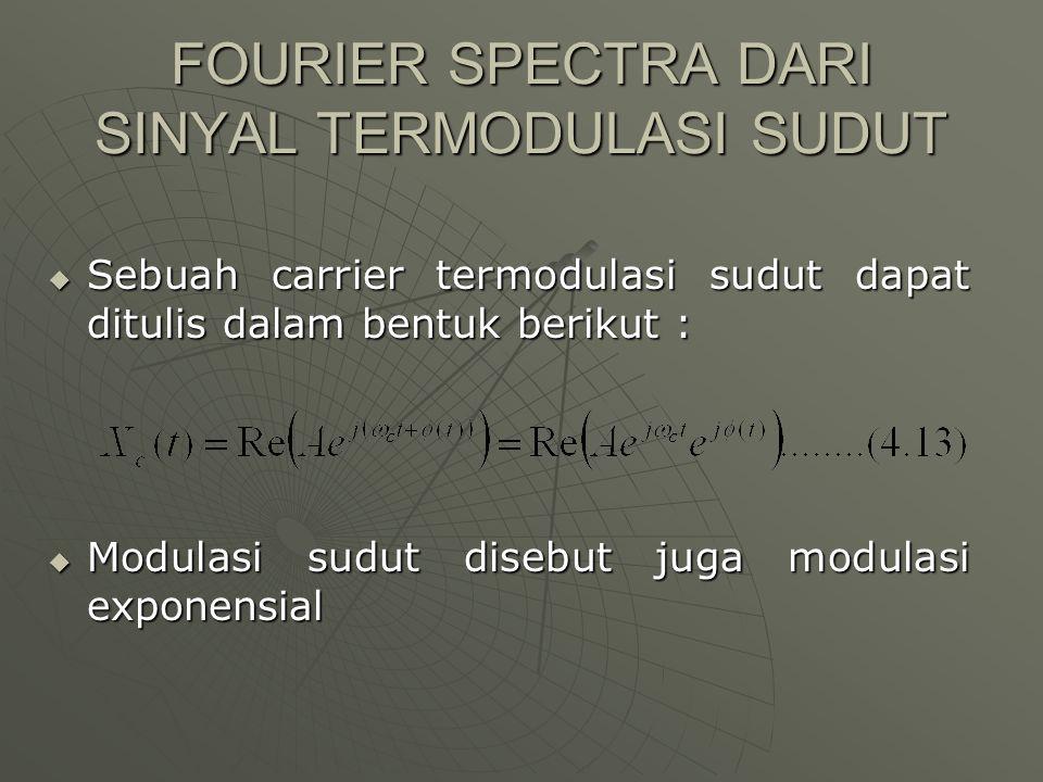 FOURIER SPECTRA DARI SINYAL TERMODULASI SUDUT  Sebuah carrier termodulasi sudut dapat ditulis dalam bentuk berikut :  Modulasi sudut disebut juga mo