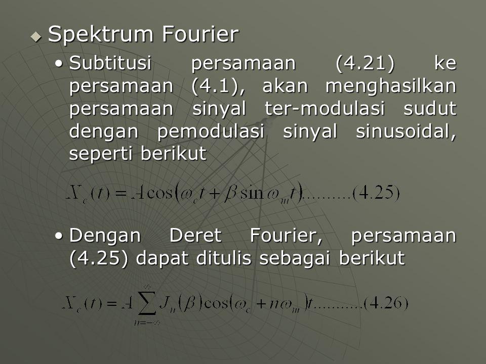  Spektrum Fourier Subtitusi persamaan (4.21) ke persamaan (4.1), akan menghasilkan persamaan sinyal ter-modulasi sudut dengan pemodulasi sinyal sinus