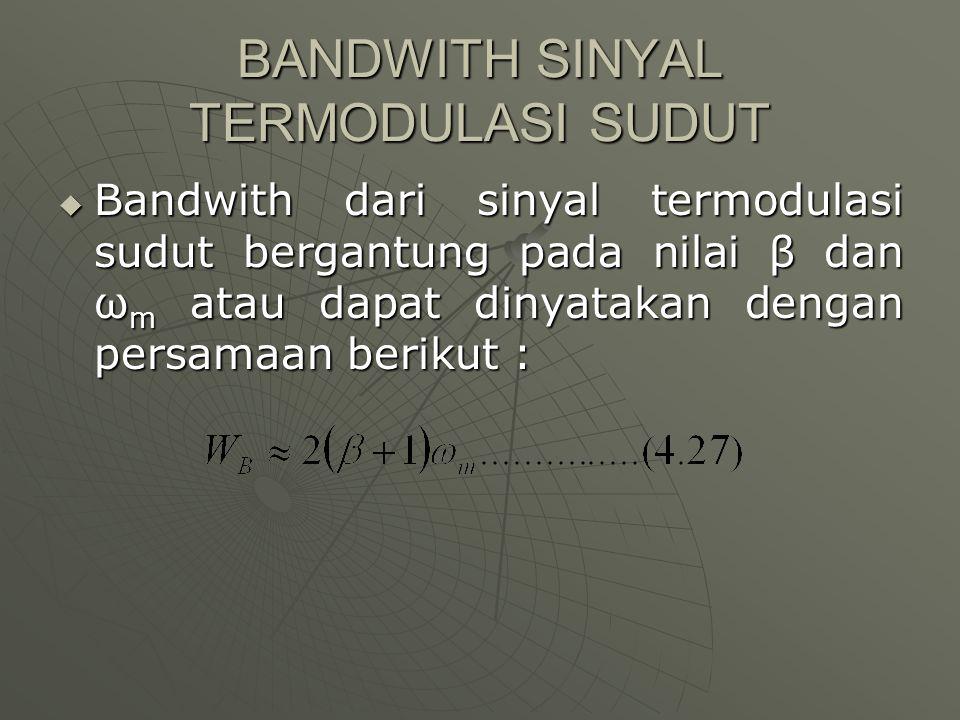BANDWITH SINYAL TERMODULASI SUDUT  Bandwith dari sinyal termodulasi sudut bergantung pada nilai β dan ω m atau dapat dinyatakan dengan persamaan beri