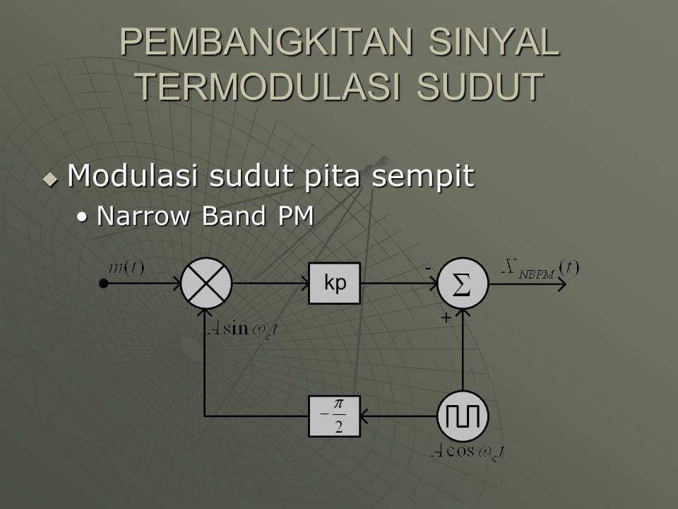 PEMBANGKITAN SINYAL TERMODULASI SUDUT  Modulasi sudut pita sempit Narrow Band PMNarrow Band PM