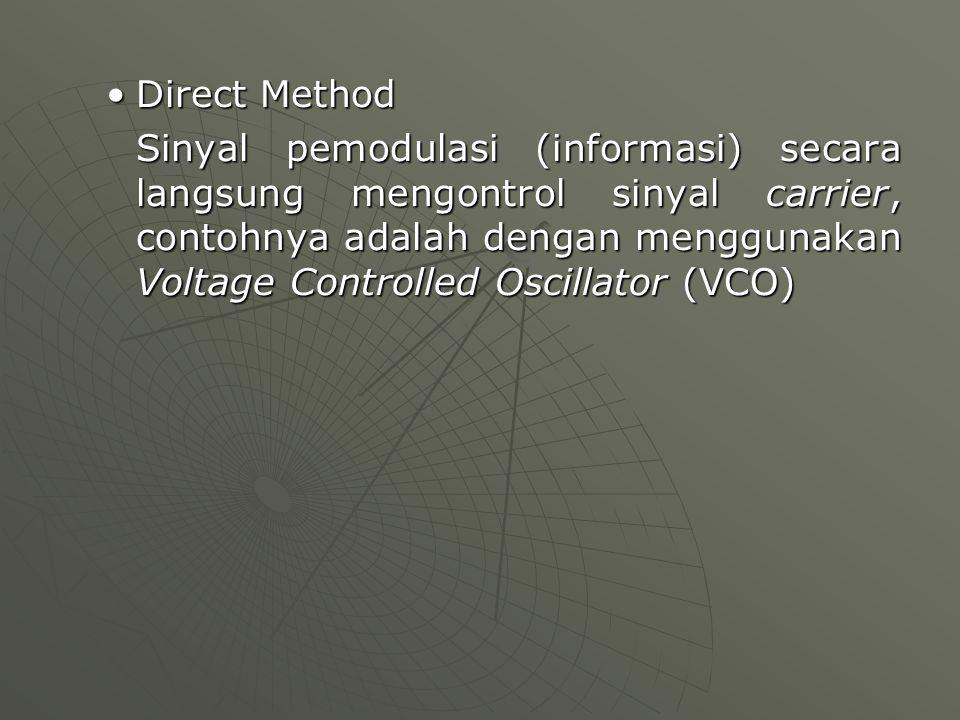 Direct MethodDirect Method Sinyal pemodulasi (informasi) secara langsung mengontrol sinyal carrier, contohnya adalah dengan menggunakan Voltage Contro