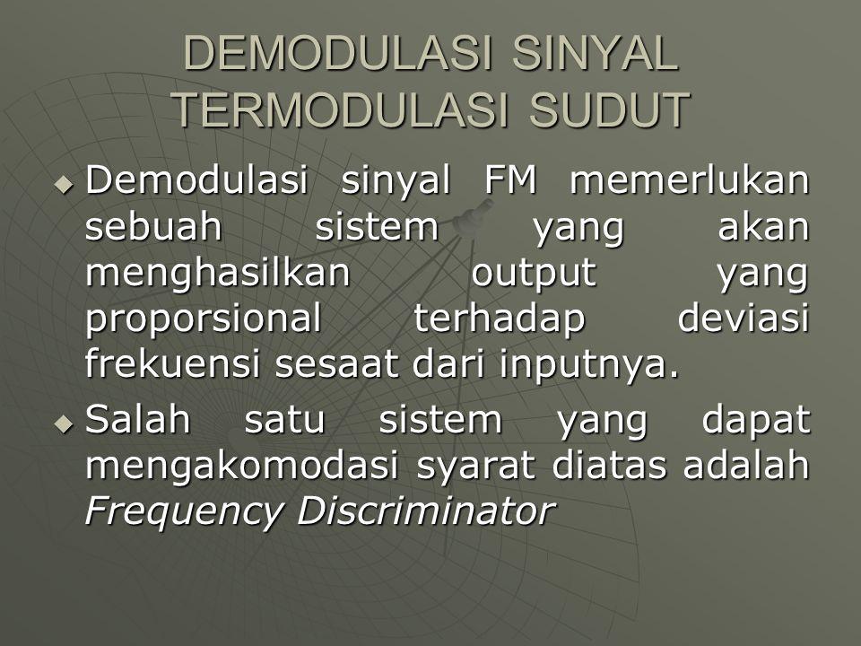 DEMODULASI SINYAL TERMODULASI SUDUT  Demodulasi sinyal FM memerlukan sebuah sistem yang akan menghasilkan output yang proporsional terhadap deviasi f
