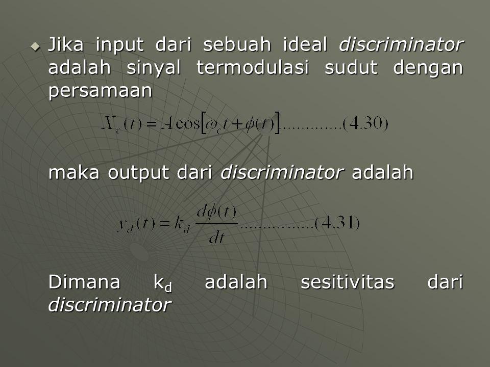  Jika input dari sebuah ideal discriminator adalah sinyal termodulasi sudut dengan persamaan maka output dari discriminator adalah Dimana k d adalah