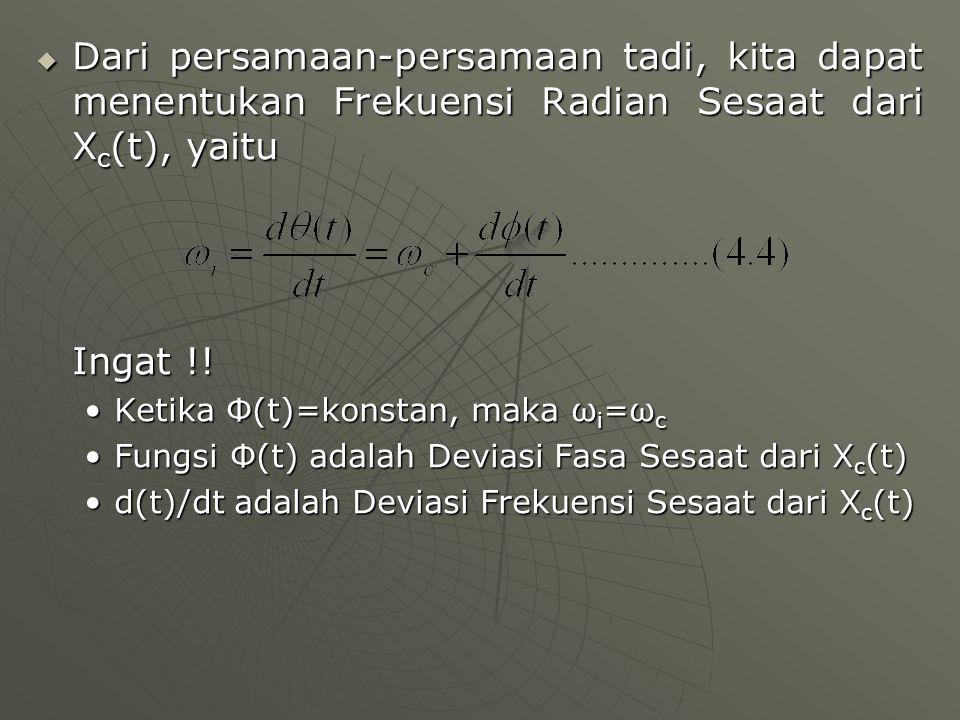  Dari persamaan-persamaan tadi, kita dapat menentukan Frekuensi Radian Sesaat dari X c (t), yaitu Ingat !! Ketika Φ(t)=konstan, maka ω i =ω cKetika Φ