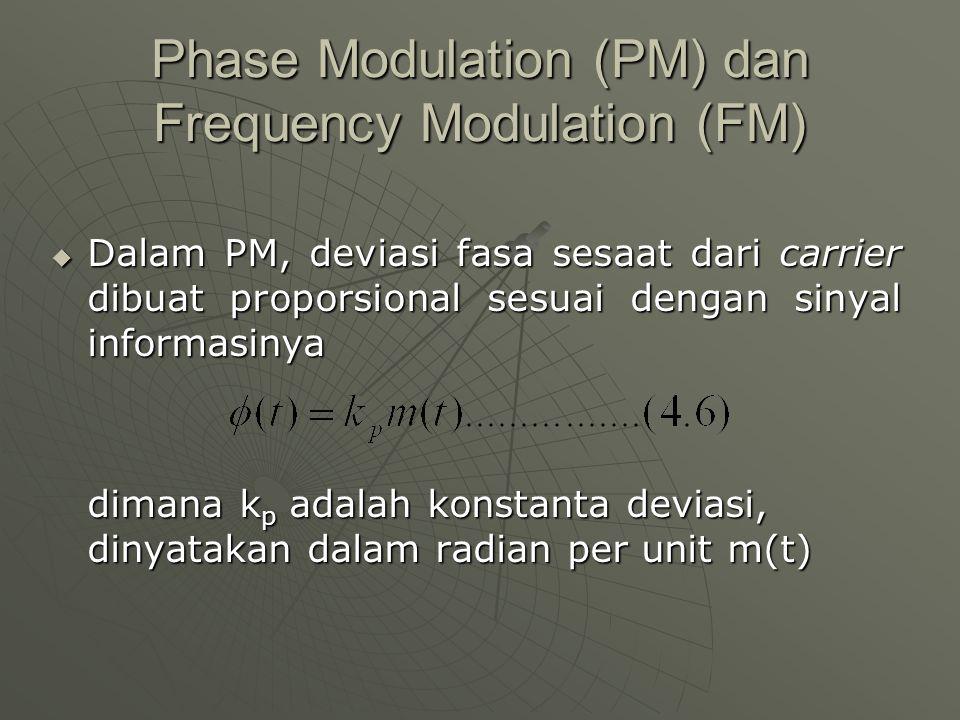 Phase Modulation (PM) dan Frequency Modulation (FM)  Dalam PM, deviasi fasa sesaat dari carrier dibuat proporsional sesuai dengan sinyal informasinya