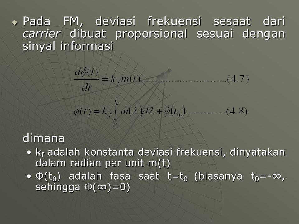  Pada FM, deviasi frekuensi sesaat dari carrier dibuat proporsional sesuai dengan sinyal informasi dimana k f adalah konstanta deviasi frekuensi, din