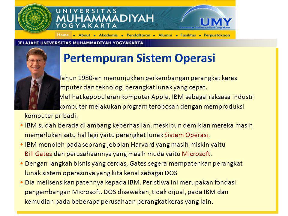 Pertempuran Sistem Operasi Tahun 1980-an menunjukkan perkembangan perangkat keras komputer dan teknologi perangkat lunak yang cepat. Melihat kepopuler