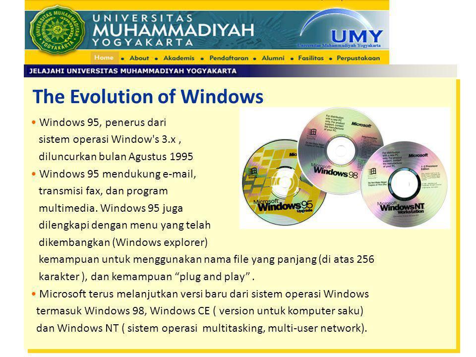The Evolution of Windows Windows 95, penerus dari sistem operasi Window's 3.x, diluncurkan bulan Agustus 1995 Windows 95 mendukung e-mail, transmisi f
