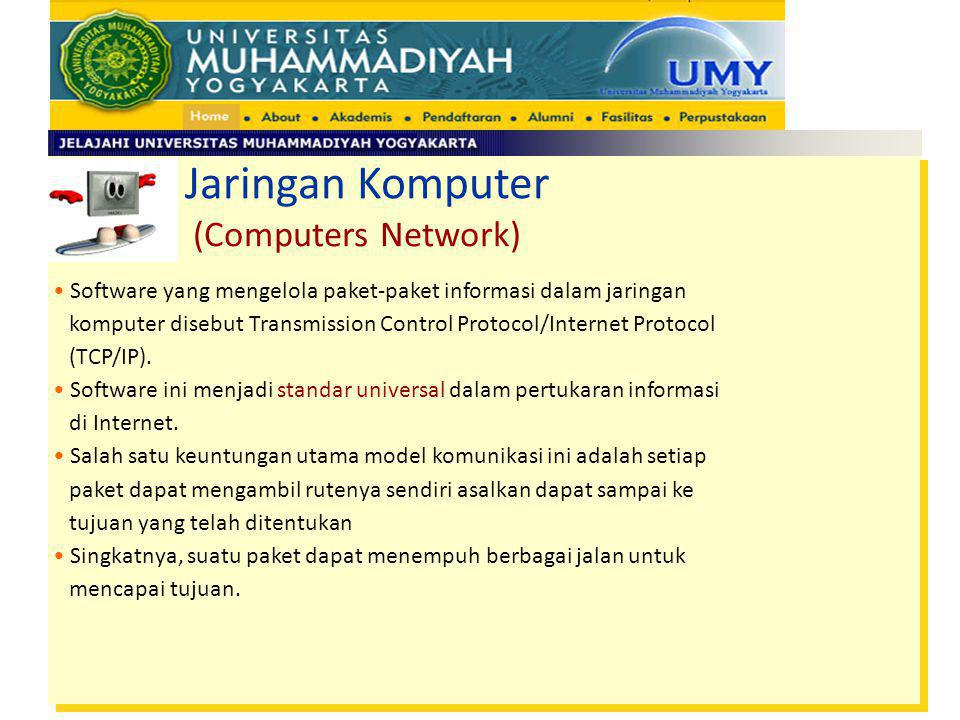 Software yang mengelola paket-paket informasi dalam jaringan komputer disebut Transmission Control Protocol/Internet Protocol (TCP/IP). Software ini m