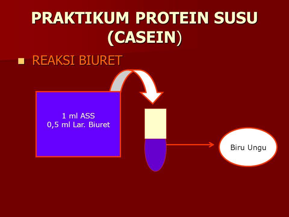PRAKTIKUM PROTEIN SUSU (CASEIN) REAKSI BIURET REAKSI BIURET 1 ml ASS 0,5 ml Lar. Biuret Biru Ungu