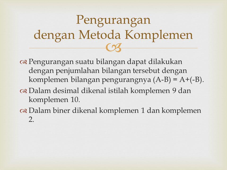   Pengurangan suatu bilangan dapat dilakukan dengan penjumlahan bilangan tersebut dengan komplemen bilangan pengurangnya (A-B) = A+(-B).  Dalam des