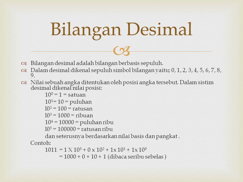  Bilangan desimal adalah bilangan berbasis sepuluh.  Dalam desimal dikenal sepuluh simbol bilangan yaitu; 0, 1, 2, 3, 4, 5, 6, 7, 8, 9.  Nilai se